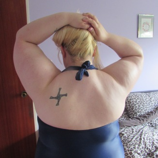 Back of swim suit